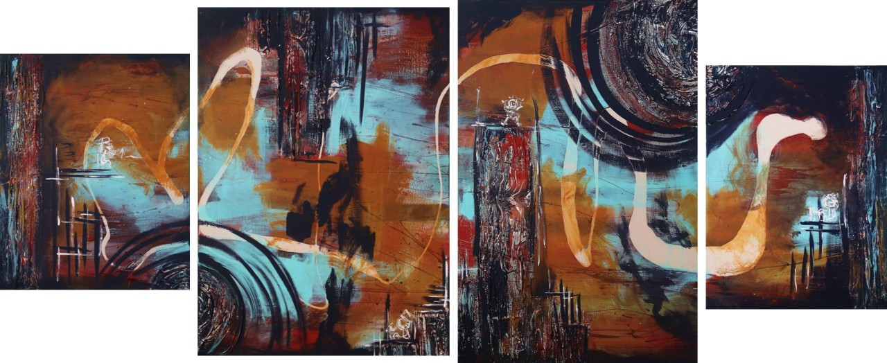 The Beat- Rooftop Razzamatazztextured paint & acrylic on canvas20x16in, 30x24in, 36x24in, & 24x18in2014SOLD
