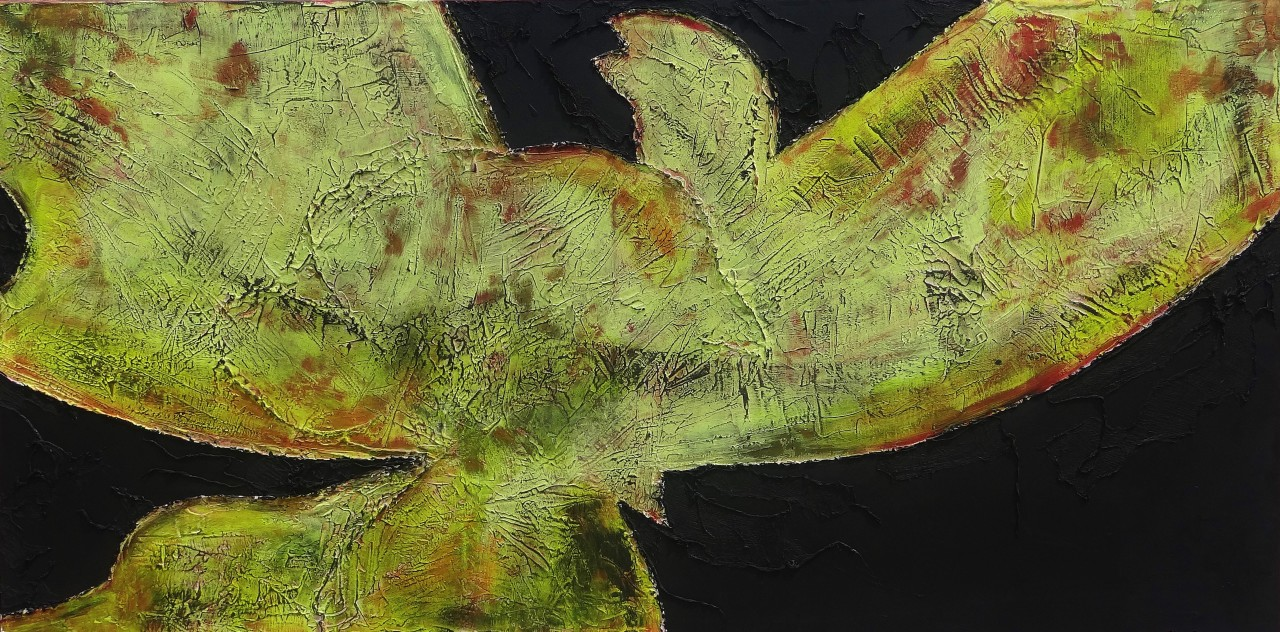 Poppy- Casttextured paint, acrylic, oil & cheese cloth on canvas36x72in2013$21,000
