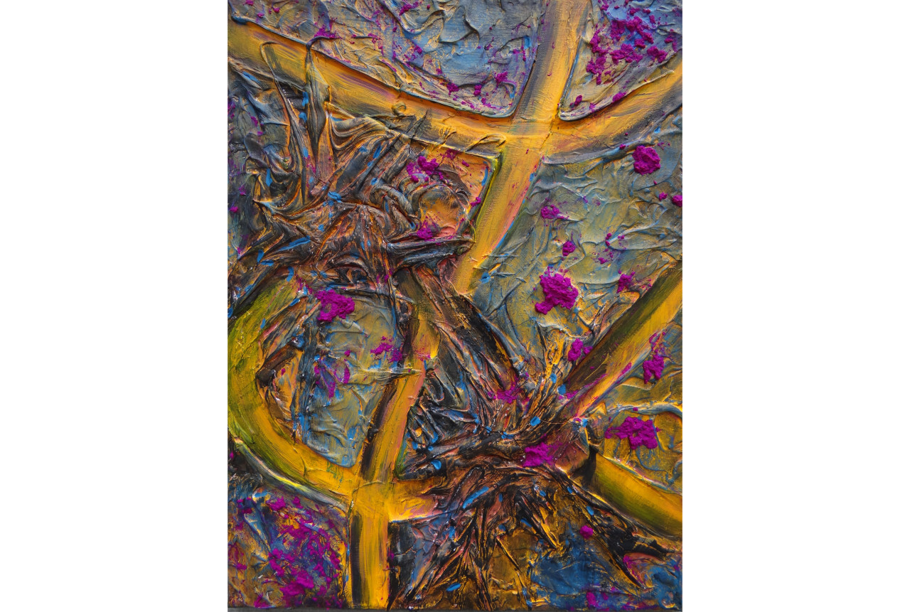 Forbidden Fruit- Passion Fruittextured paint, acrylic & oil on canvas24x18in2015SOLD