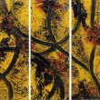 Forbidden Fruit- Platanostextured paint, acrylic & oil on canvas40x16in triptych2015$1,560