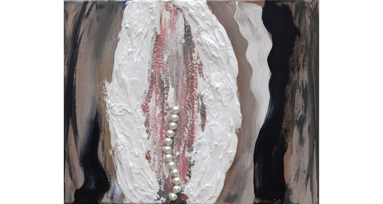 Clam Itextured paint, acrylic, oil & pearls on canvas (framed)16x24in2015$5,500
