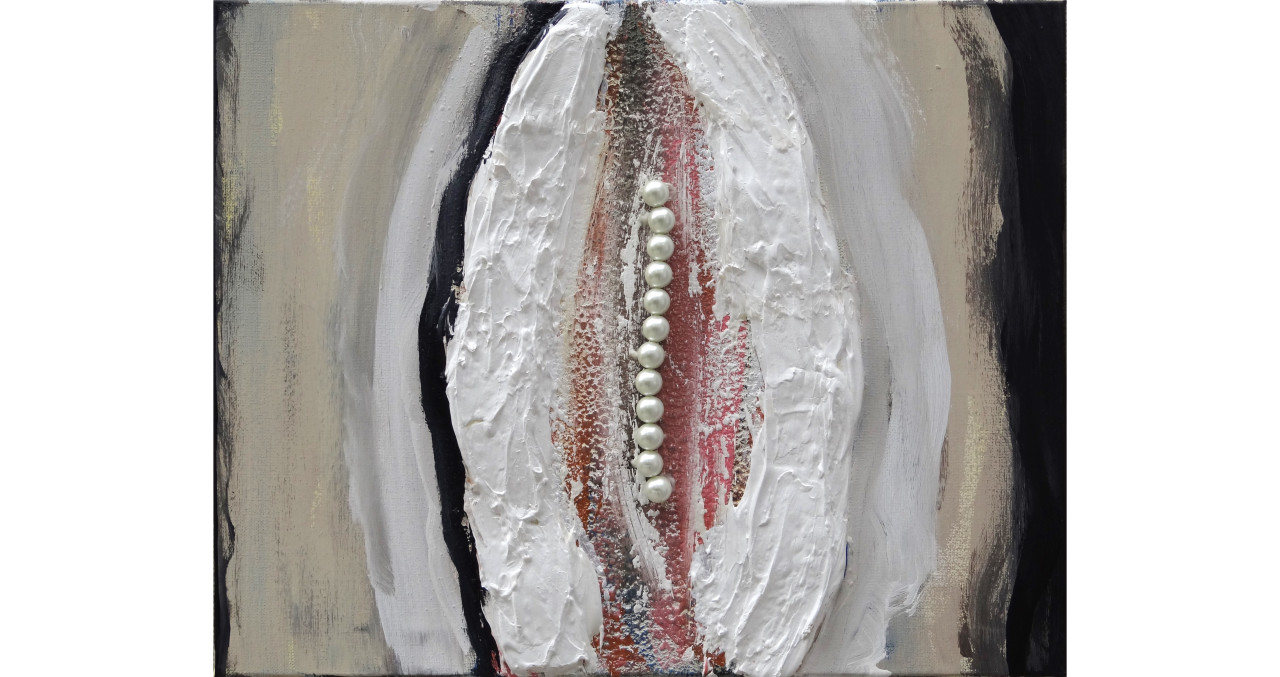 Clam IIItextured paint, acrylic, oil & pearls on canvas (framed)16x24in2015$5,500