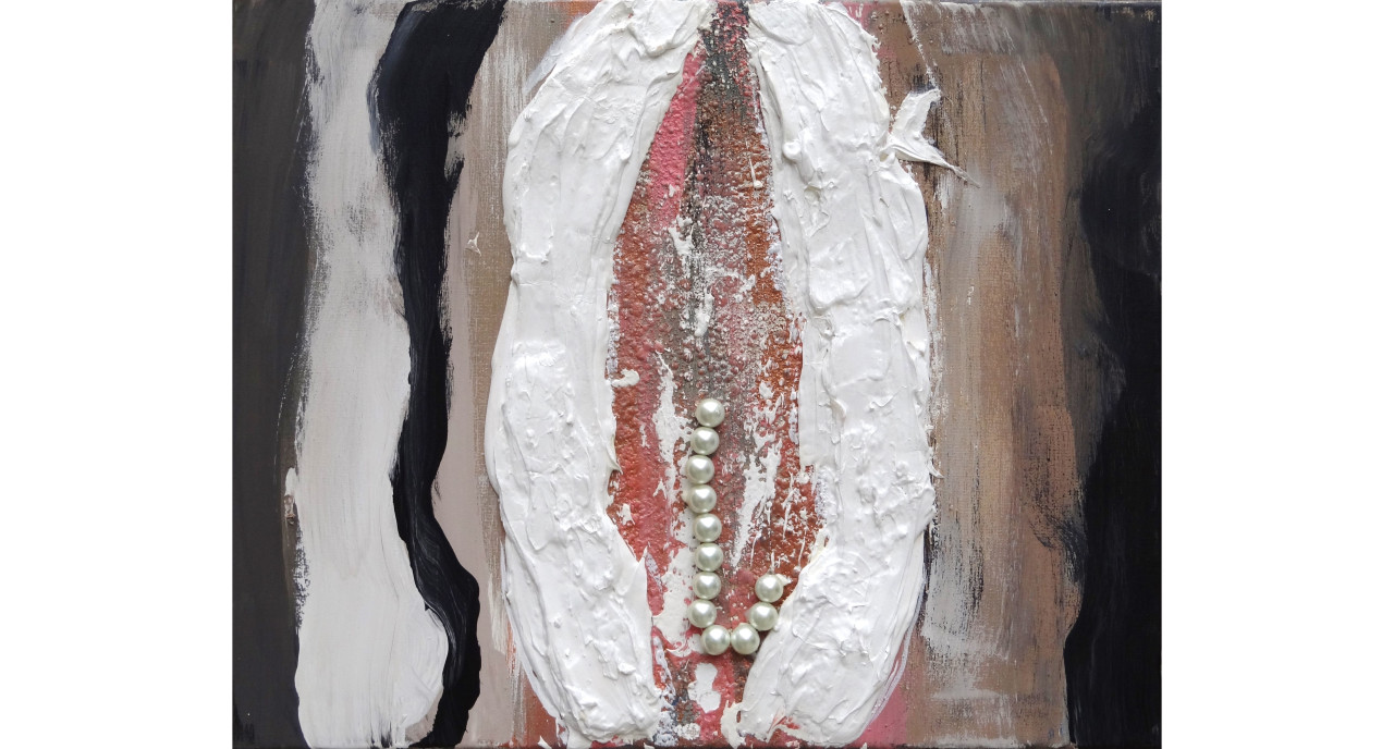 Clam IVtextured paint, acrylic, oil & pearls on canvas (framed)16x24in2015$5,500