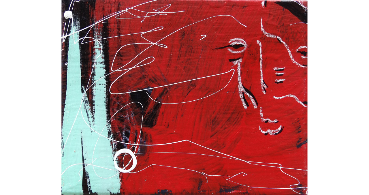Many Faces of Me- Red 1 of 3acrylic, india ink & china marker on canvas8x10in2015SOLD