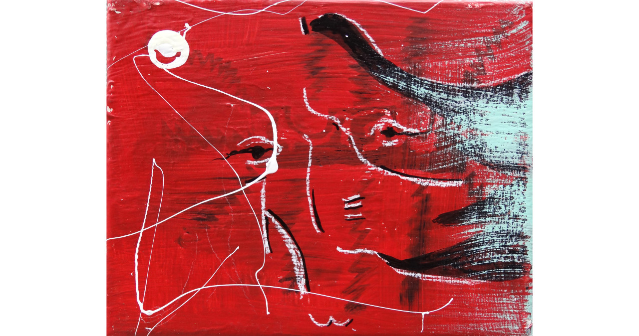 Many Faces of Me- Red 2 of 3acrylic, india ink & china marker on canvas8x10in2015SOLD