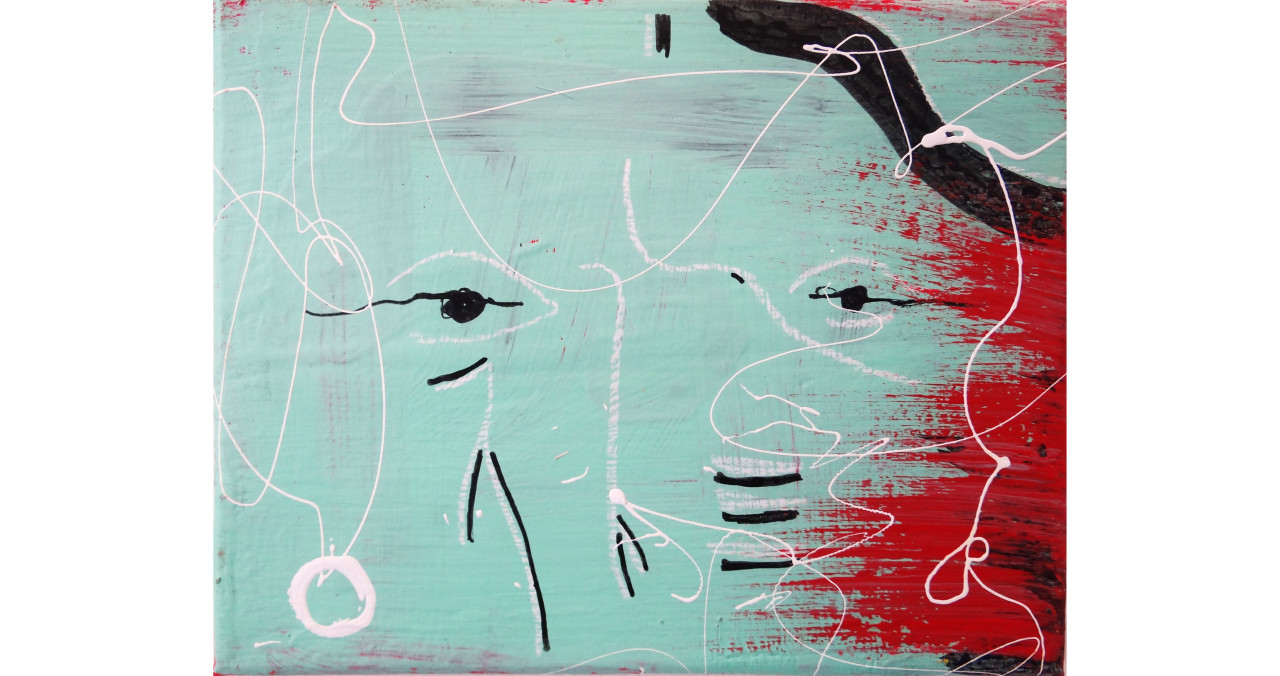 Many Faces of Me- Turquoise 2 of 3acrylic, india ink & china marker on canvas8x10in2015SOLD