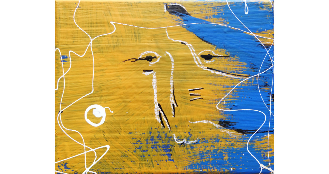 Many Faces of Me- Yellow 3 of 3acrylic, india ink & china marker on canvas8x10in2015SOLD
